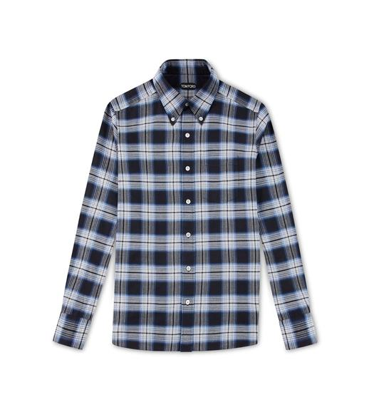 BLUE OVERCHECK SLIM FIT SHIRT