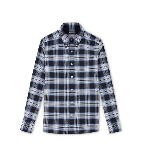 BLUE OVERCHECK SLIM FIT SHIRT A fullsize