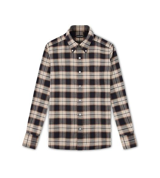BROWN OVERCHECK SLIM FIT SHIRT