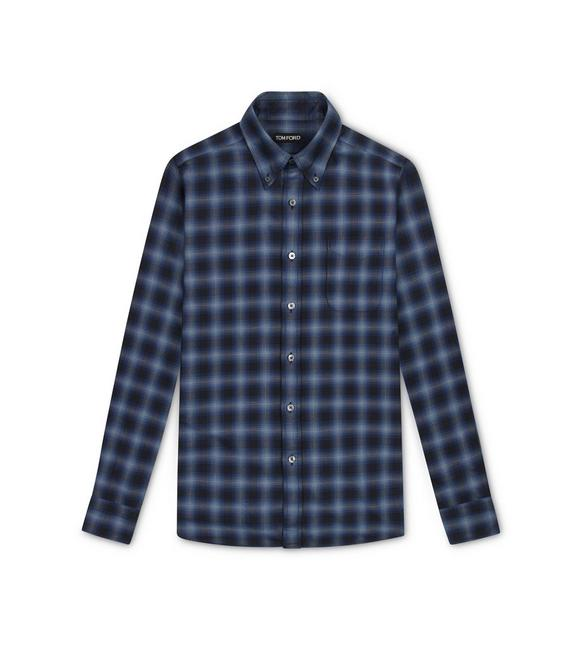 NAVY CHECK SLIM FIT SHIRT A fullsize