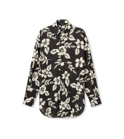 GRAPHIC FLORAL PRINT FLUID FIT SHIRT