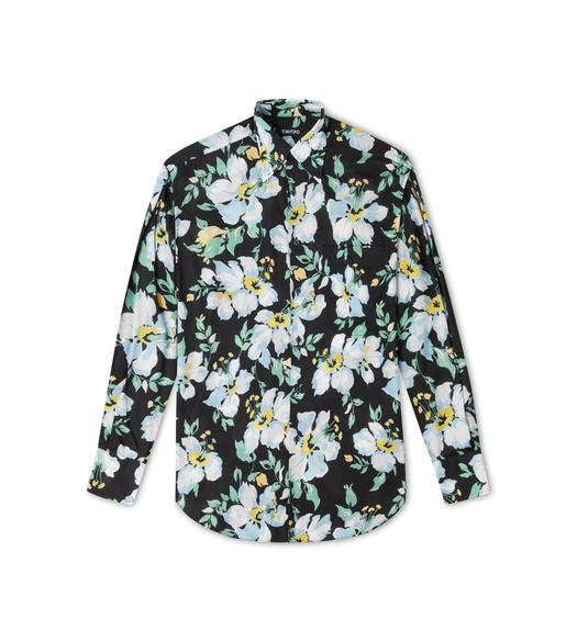 PAINTED FLORAL PRINT FLUID FIT SHIRT