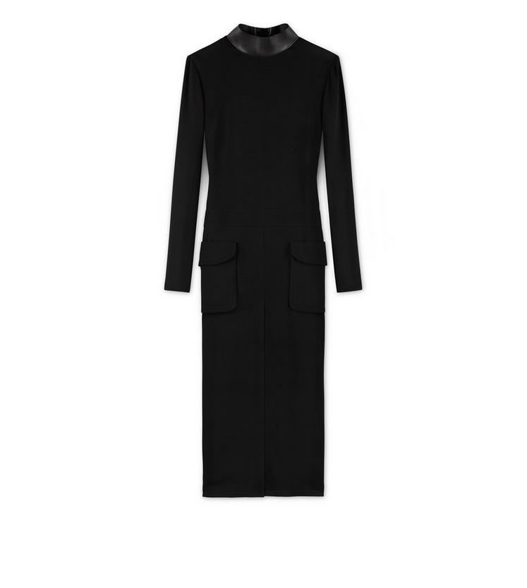 MIDI DRESS WITH LEATHER COLLAR A fullsize