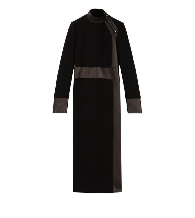 LONG SLEEVE DRESS WITH LEATHER INSERTS A fullsize