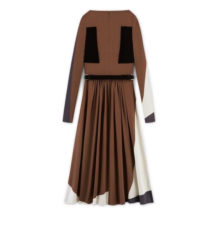 PRINTED SABLE DRESS WITH VELVET BAND DETAILS B fullsize