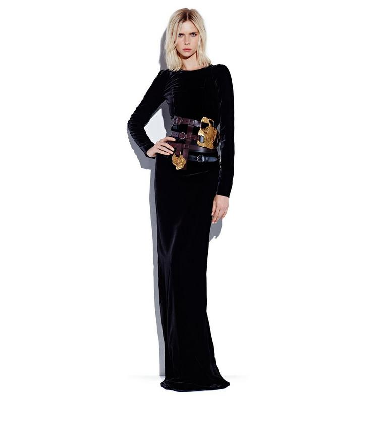 VELVET LONG SLEEVE GOWN L fullsize