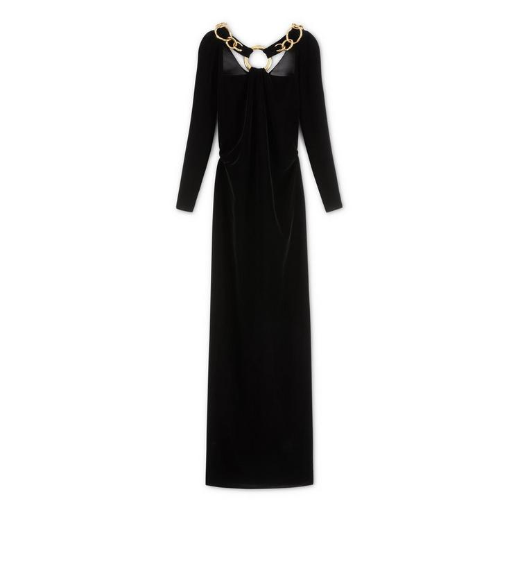 SILK VELVET COWL BACK GOWN WITH CHAIN A fullsize