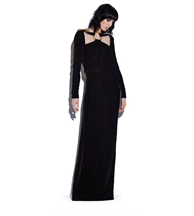 SILK VELVET COWL BACK GOWN WITH CHAIN L fullsize