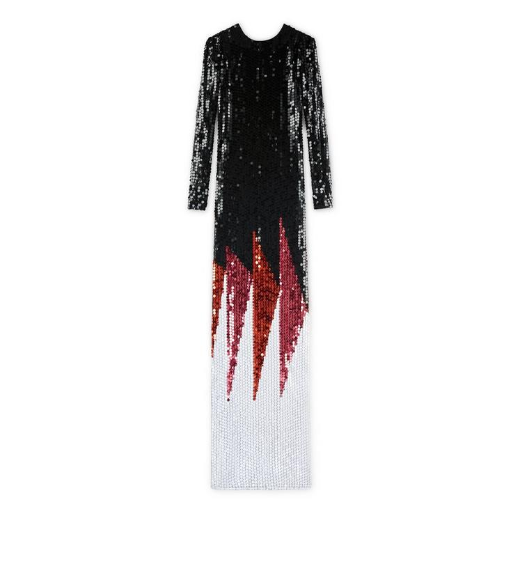 CREW NECK LONG SLEEVE EMBROIDERED GOWN A fullsize