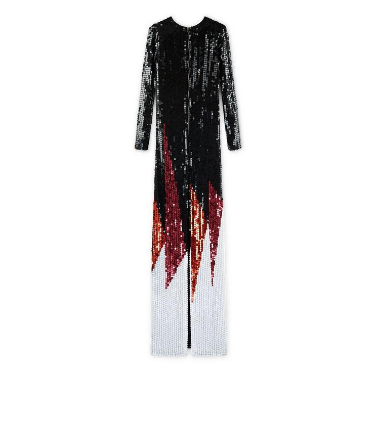 CREW NECK LONG SLEEVE EMBROIDERED GOWN B fullsize