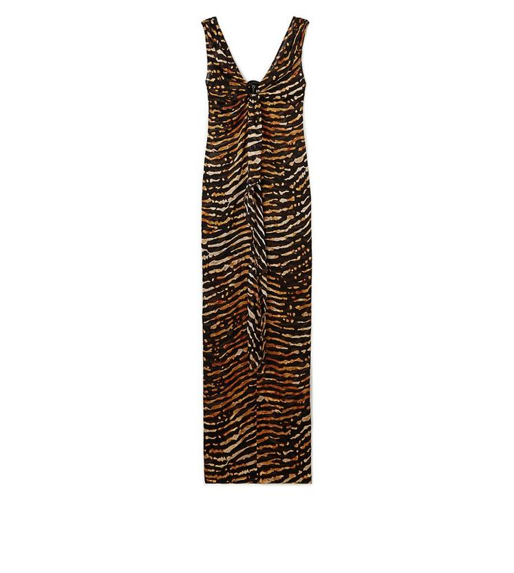 PRINTED V-NECK SLEEVELESS GOWN WITH JEWELRY DETAIL A fullsize