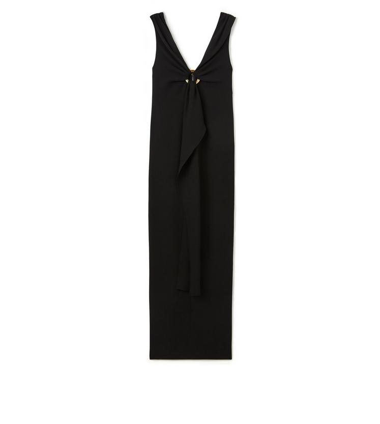 V-NECK SLEEVELESS GOWN WITH JEWELRY DETAIL A fullsize