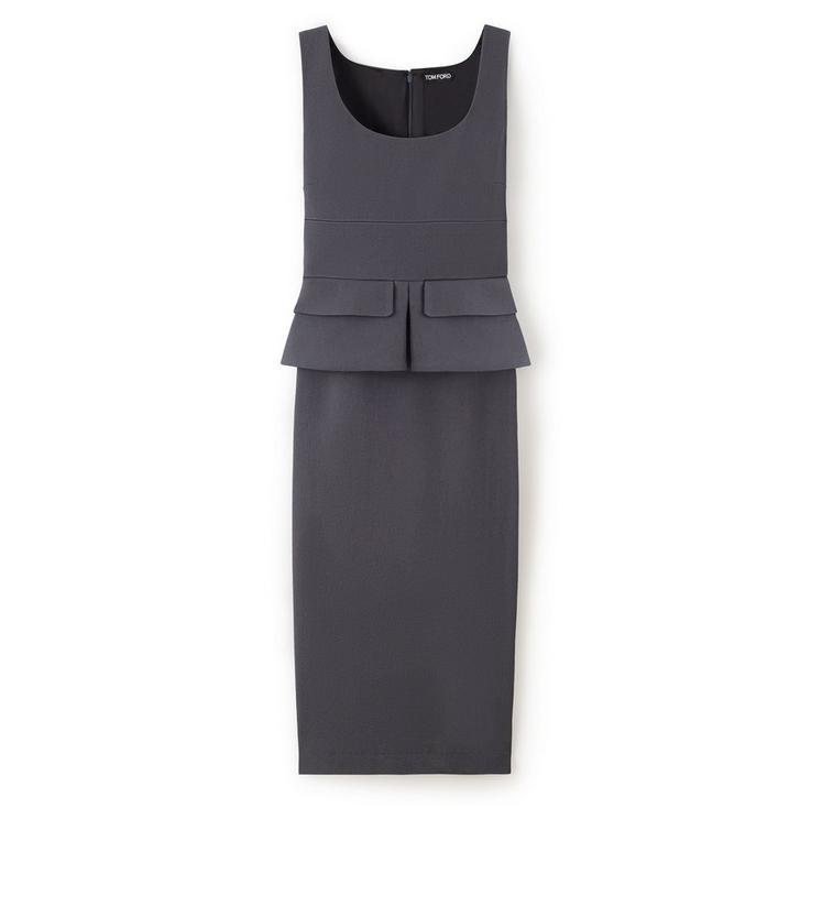 KNEE LENGTH SLEEVELESS DRESS WITH PEPLUM A fullsize