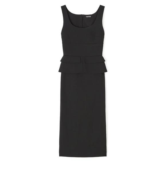 KNEE LENGTH SLEEVELESS DRESS WITH PEPLUM A fullsize