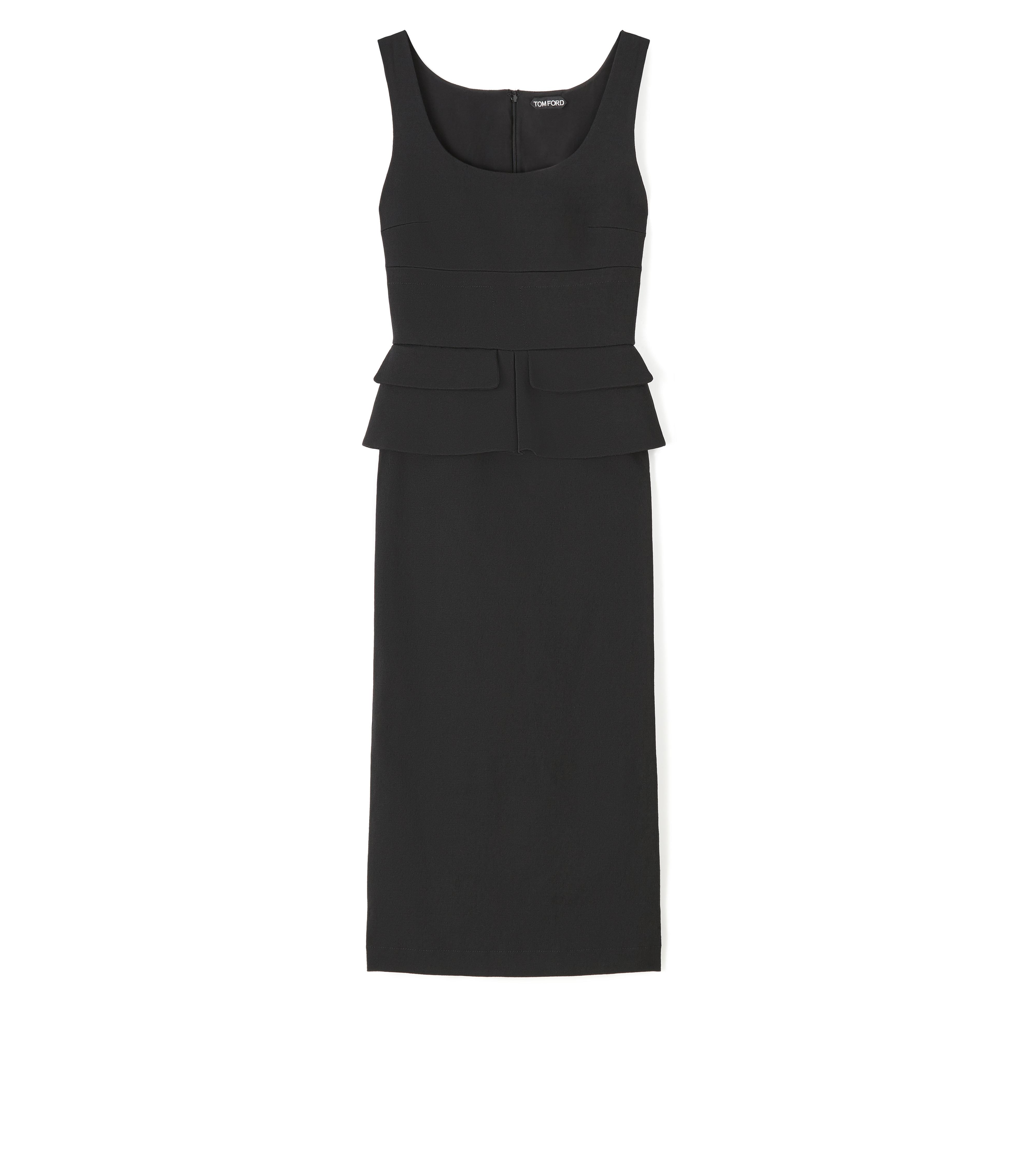 KNEE LENGTH SLEEVELESS DRESS WITH PEPLUM A thumbnail