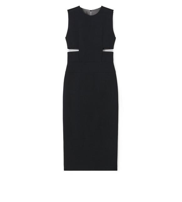 KNEE LENGTH SLEEVELESS DRESS WITH SHEER DETAILS A fullsize