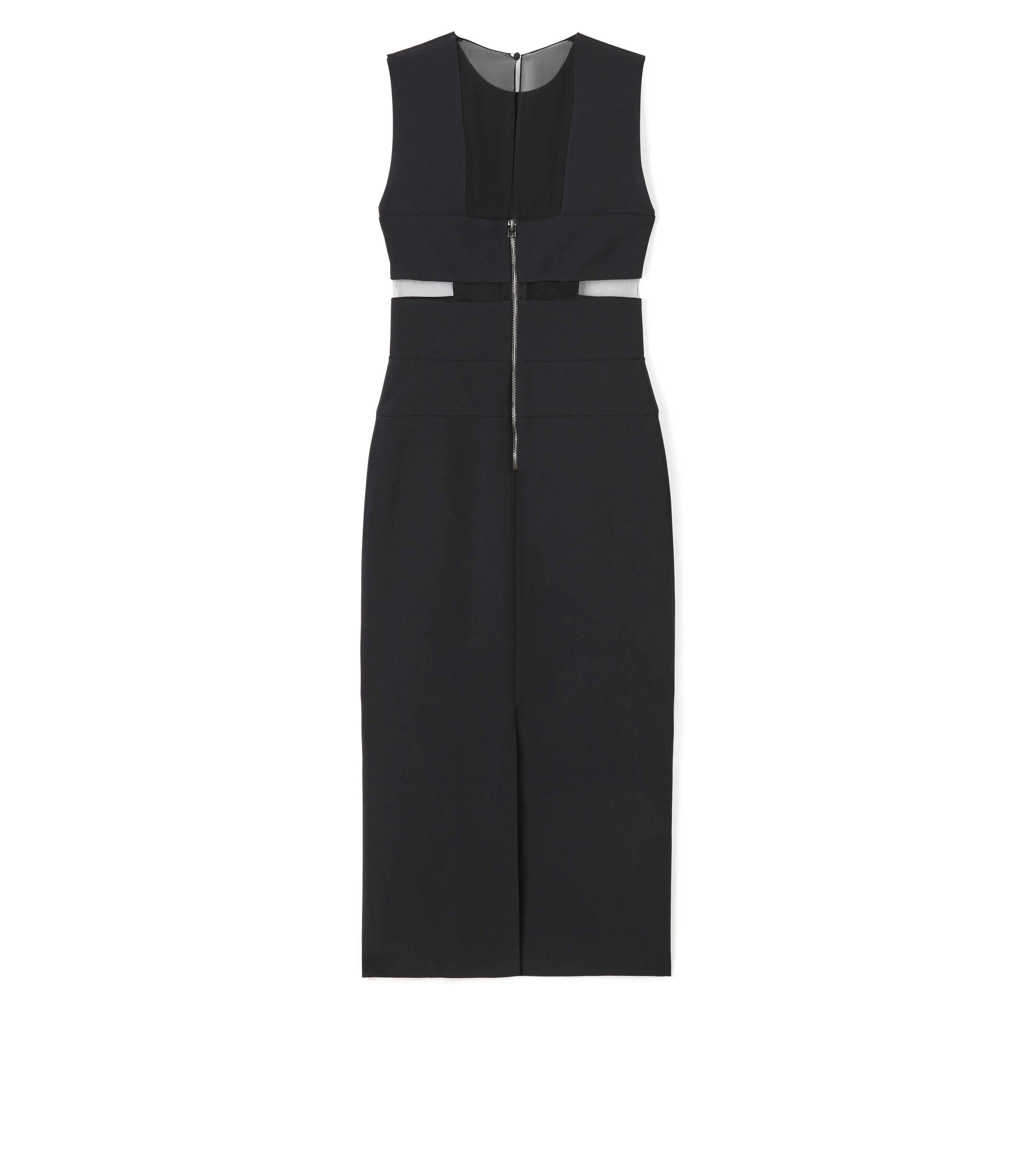 KNEE LENGTH SLEEVELESS DRESS WITH SHEER DETAILS B thumbnail