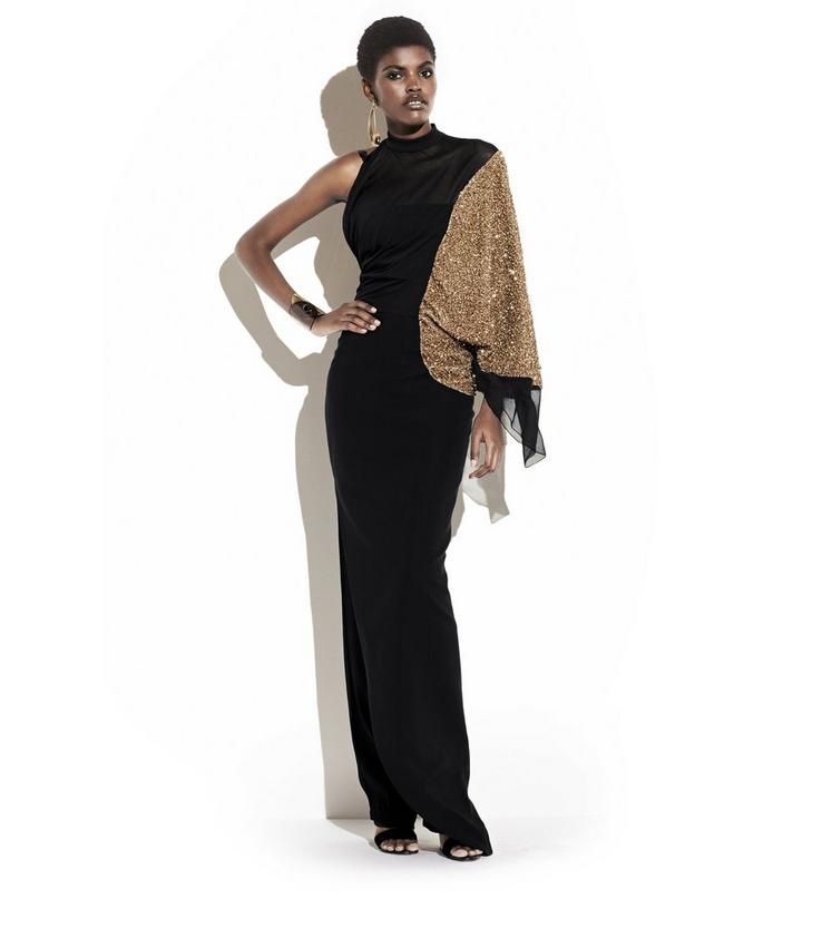LIGHT TEXTURED VISCOSE BUSTIER GOWN WITH WIDE ASYMMETRIC SLEEVE L fullsize