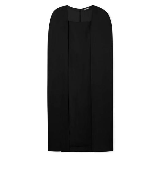 KNEE LENGTH DETACHABLE CAPE DRESS