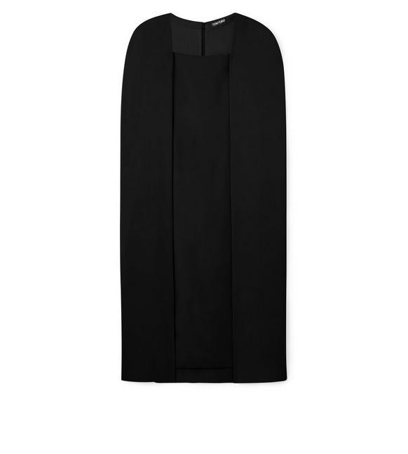 KNEE LENGTH DETACHABLE CAPE DRESS A fullsize
