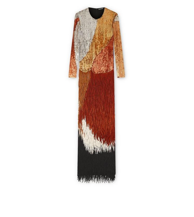OVERLAPPING SEQUINS AND KNOTTED FRINGE EMBROIDERY LONG SLEEVE GOWN A fullsize