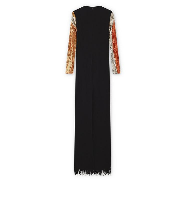 OVERLAPPING SEQUINS AND KNOTTED FRINGE EMBROIDERY LONG SLEEVE GOWN B fullsize