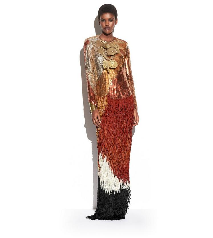 OVERLAPPING SEQUINS AND KNOTTED FRINGE EMBROIDERY LONG SLEEVE GOWN L fullsize