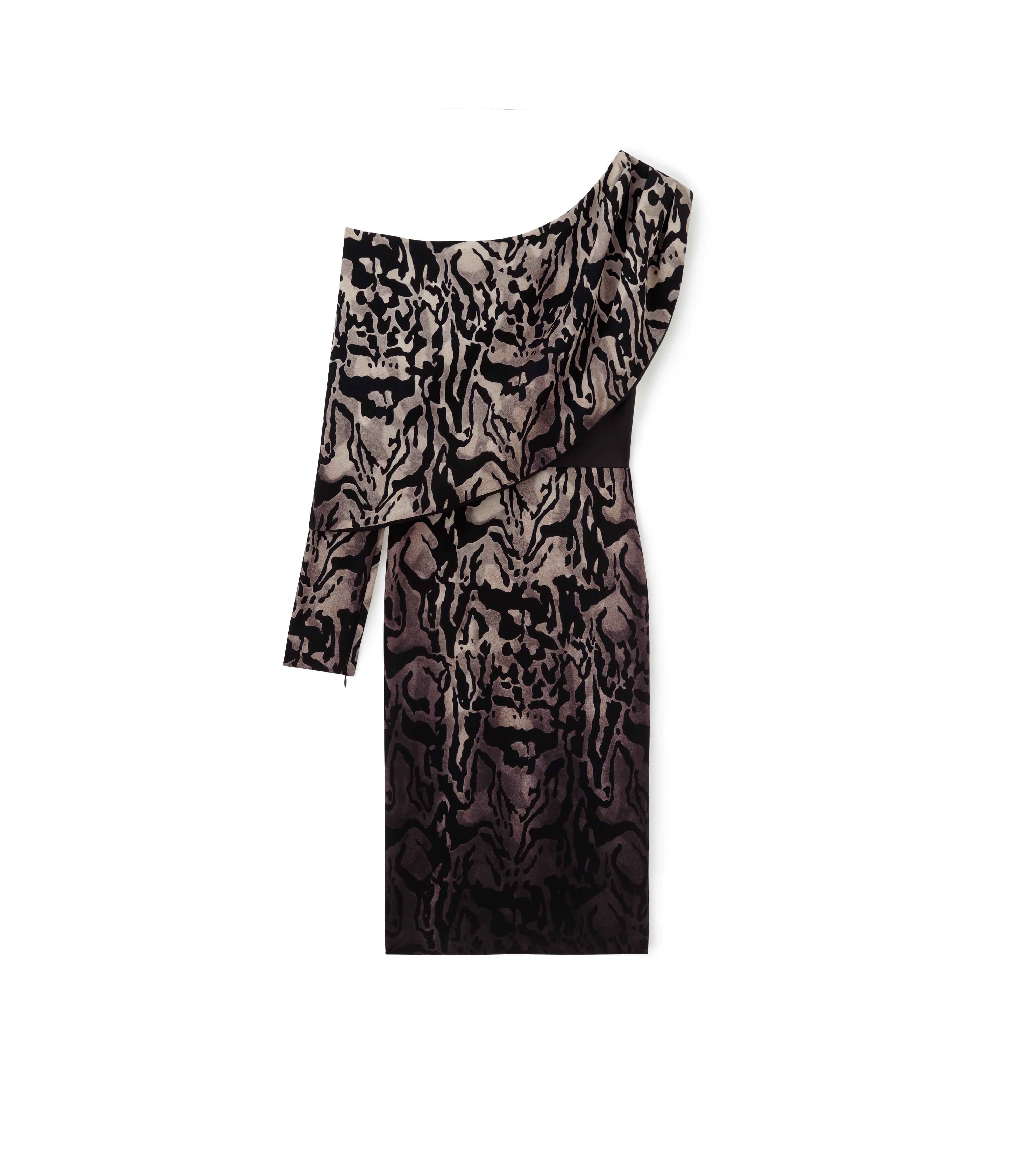 JAGUAR ASYMMETRICAL COCKTAIL DRESS WITH LEATHER CORSET A thumbnail