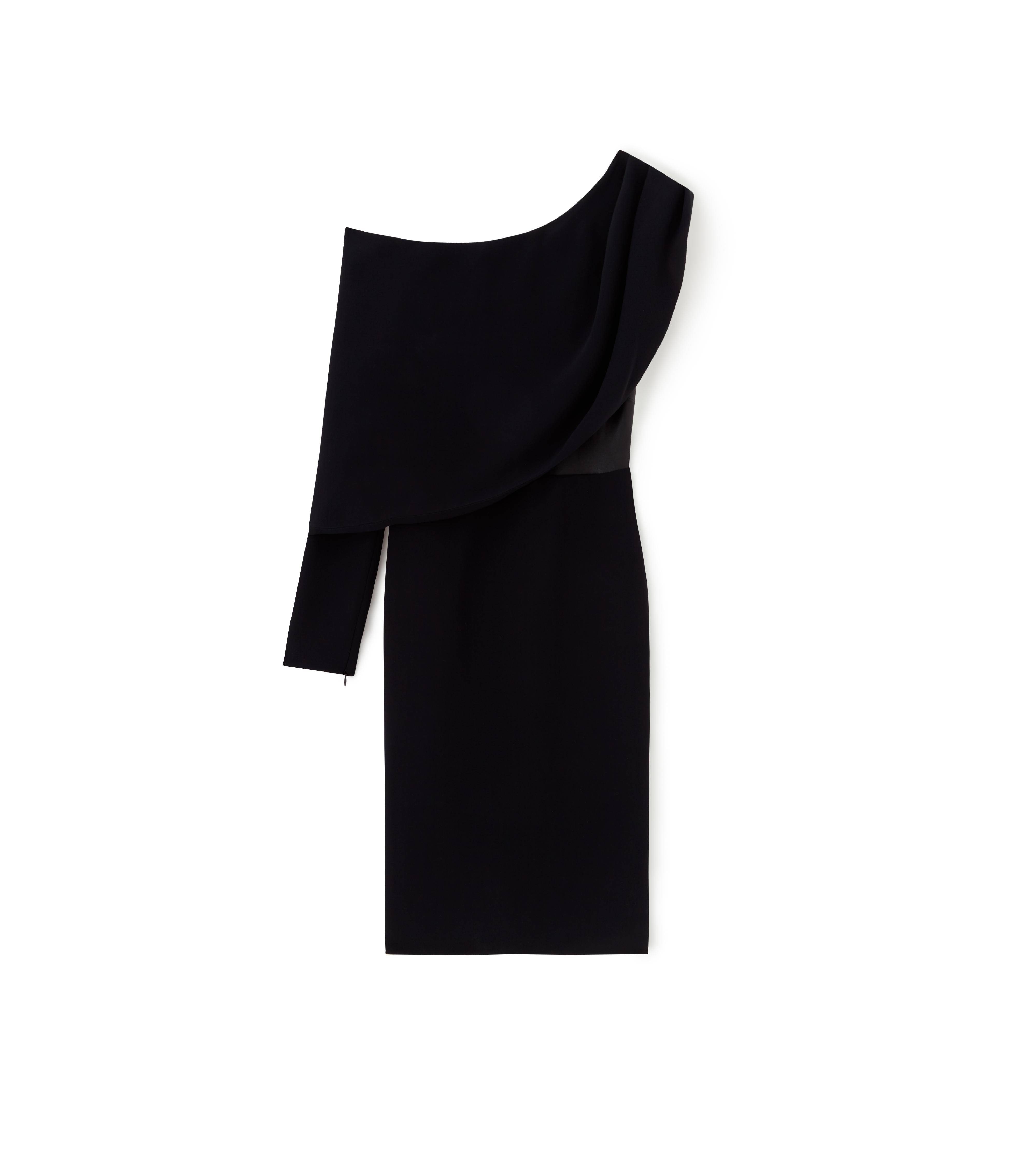 SILK ASYMMETRICAL COCKTAIL DRESS WITH LEATHER CORSET A thumbnail