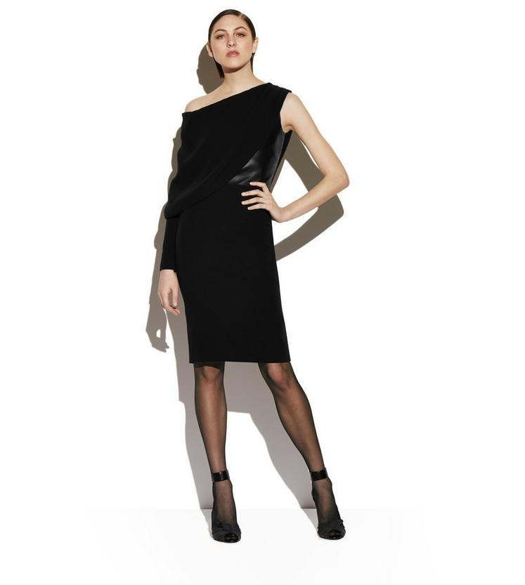 SILK ASYMMETRICAL COCKTAIL DRESS WITH LEATHER CORSET B fullsize