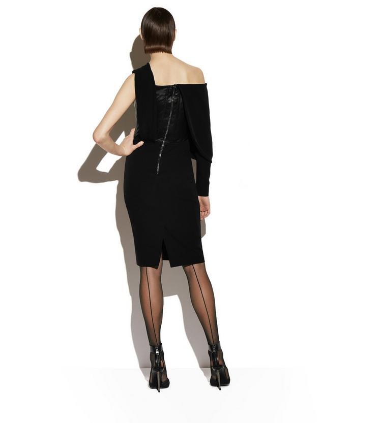 SILK ASYMMETRICAL COCKTAIL DRESS WITH LEATHER CORSET C fullsize