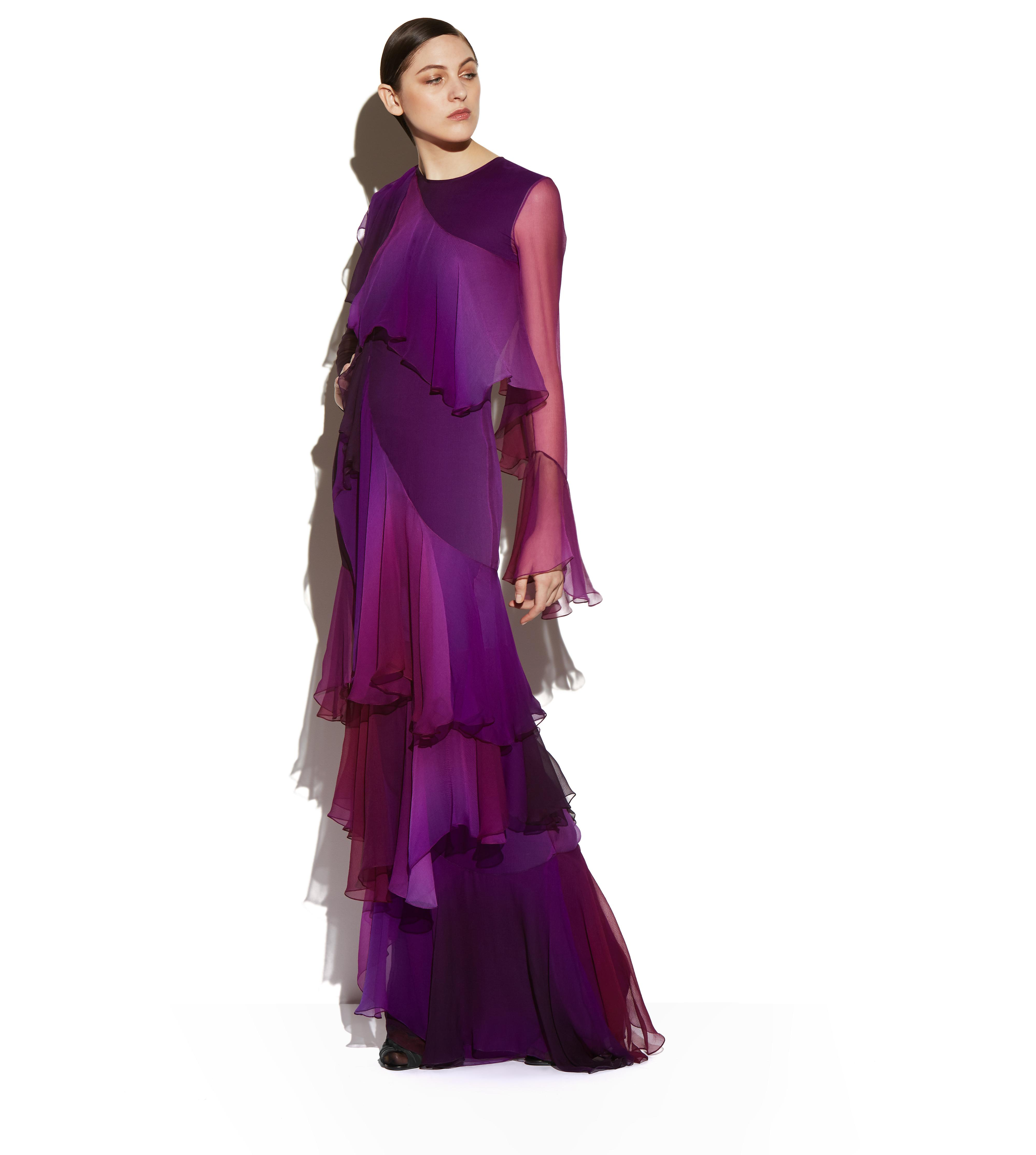 LAYERED RUFFLED SILK LONG SLEEVE GOWN B thumbnail