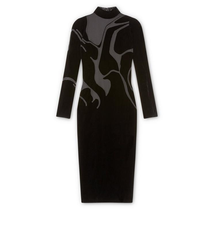 VISCOSE VELVET MOCK NECK DRESS WITH SHEER VOILE INSERTS A fullsize