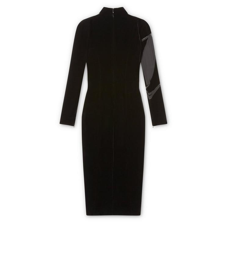VISCOSE VELVET MOCK NECK DRESS WITH SHEER VOILE INSERTS B fullsize
