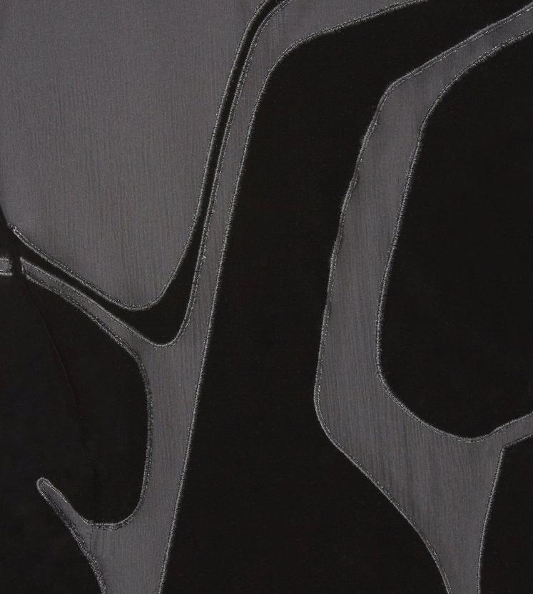 VISCOSE VELVET MOCK NECK DRESS WITH SHEER VOILE INSERTS C fullsize
