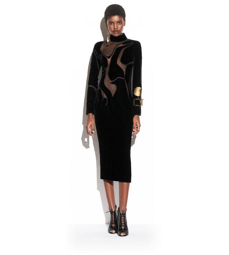 VISCOSE VELVET MOCK NECK DRESS WITH SHEER VOILE INSERTS L fullsize