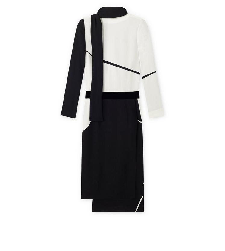 GEOMETRIC PRINT VISCOSE SABLE DRESS WITH COWL NECK SCARF B fullsize
