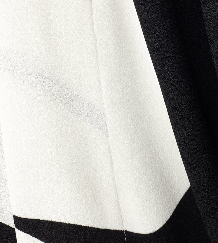 GEOMETRIC PRINT VISCOSE SABLE DRESS WITH COWL NECK SCARF C fullsize
