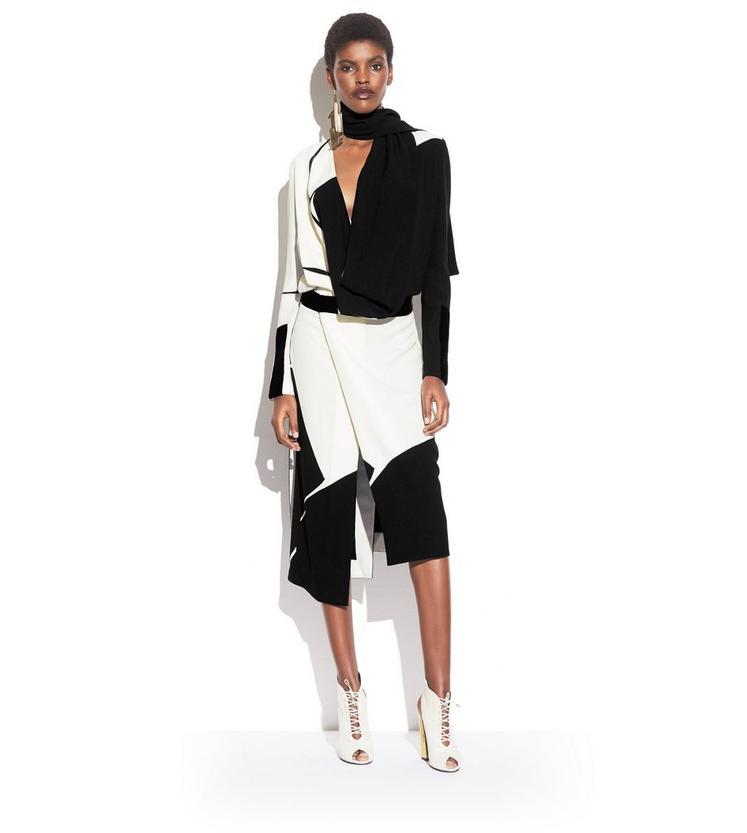 GEOMETRIC PRINT VISCOSE SABLE DRESS WITH COWL NECK SCARF L fullsize