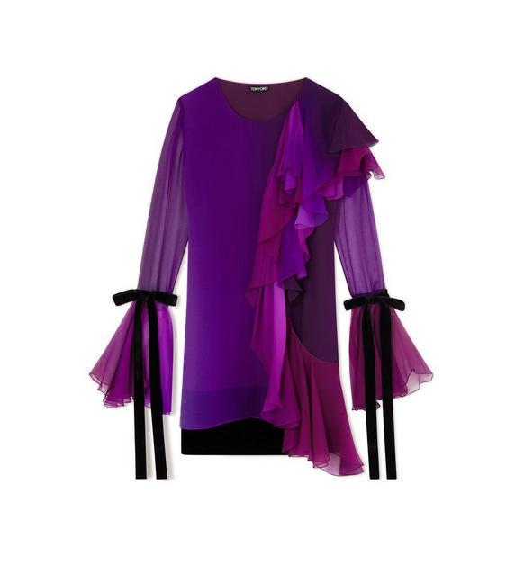 ASYMMETRIC FRILLED SILK COCKTAIL DRESS A fullsize