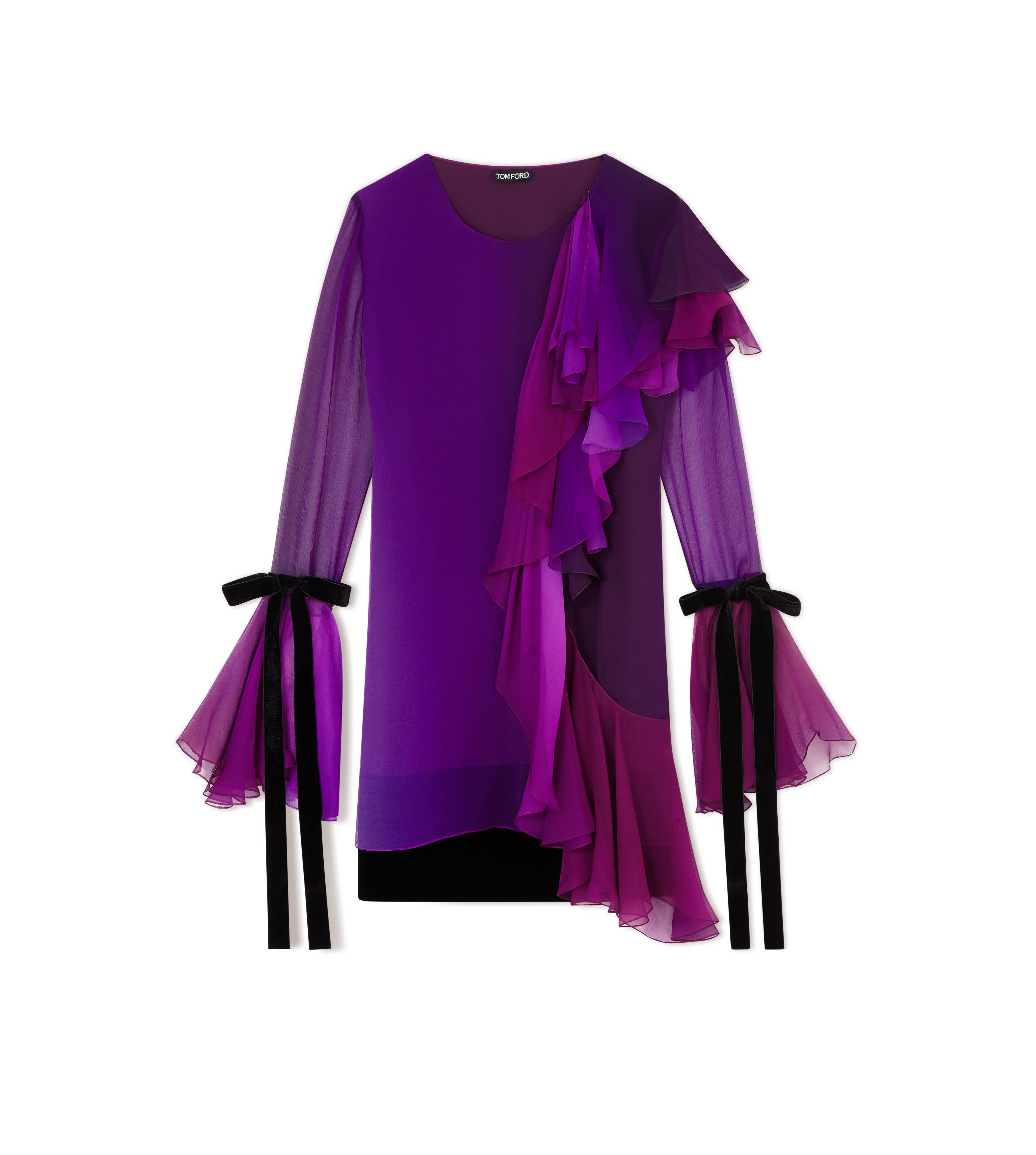 ASYMMETRIC FRILLED SILK COCKTAIL DRESS A thumbnail