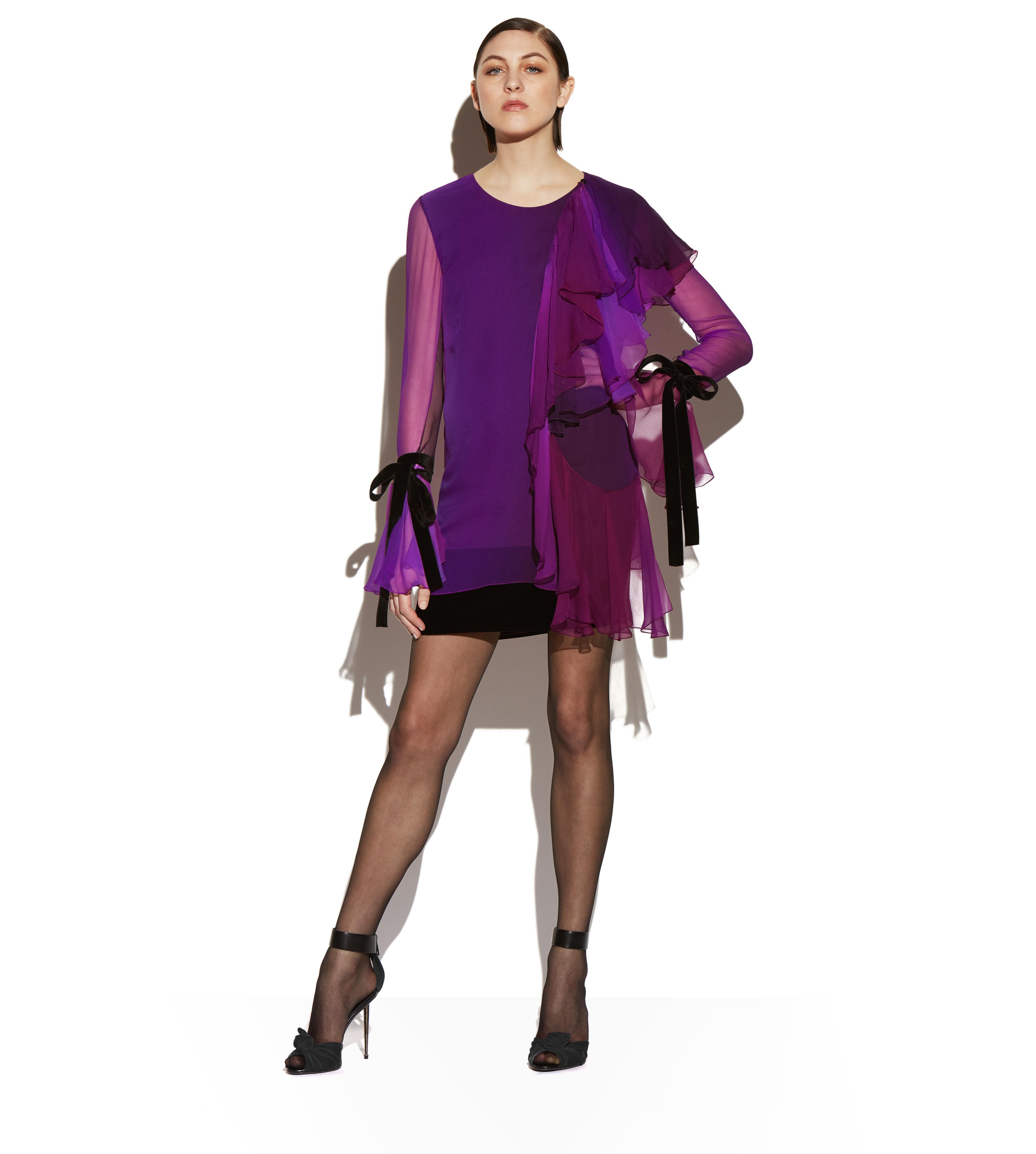 ASYMMETRIC FRILLED SILK COCKTAIL DRESS B thumbnail