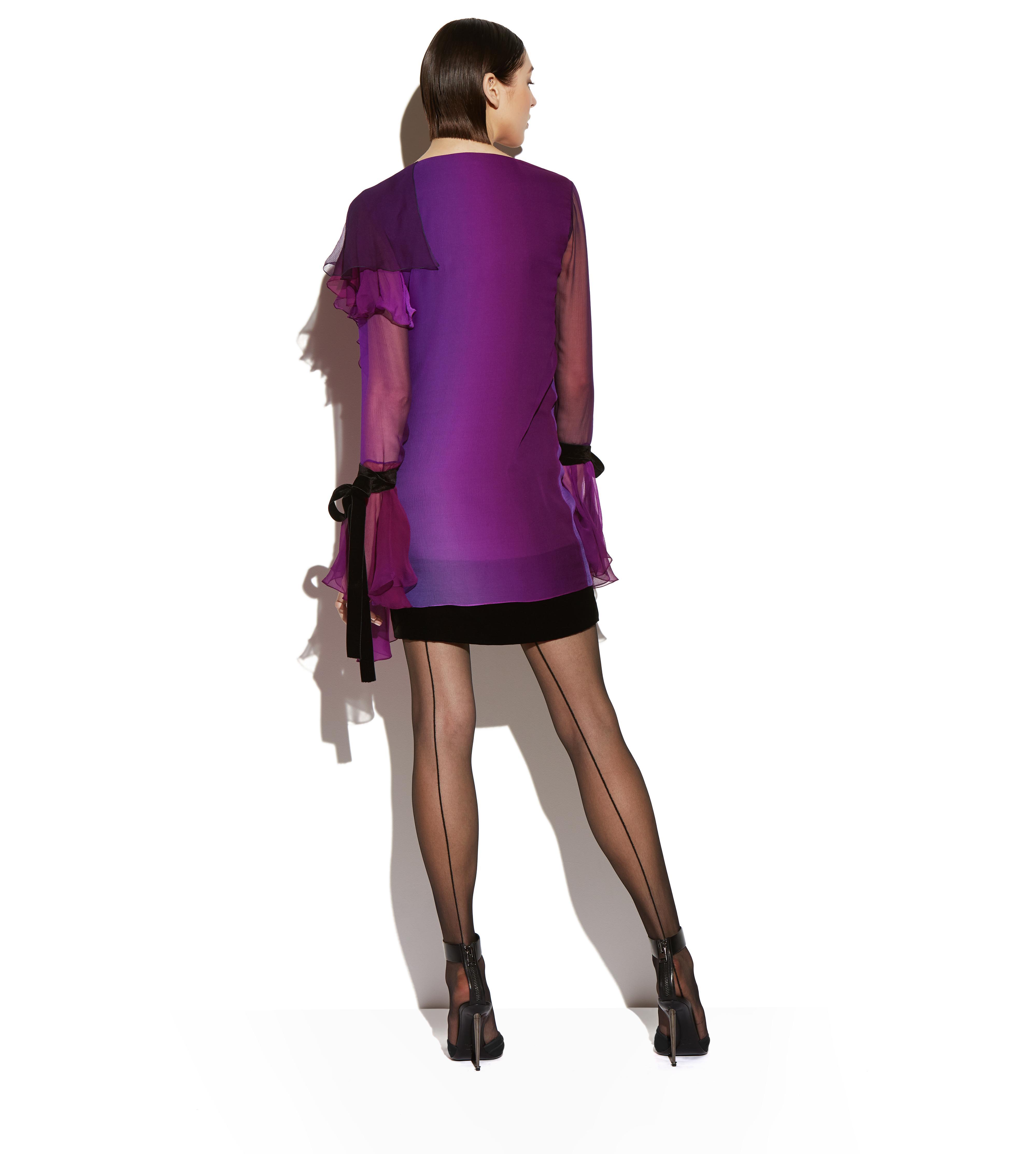 ASYMMETRIC FRILLED SILK COCKTAIL DRESS C thumbnail