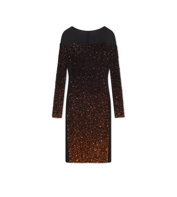 LONG SLEEVE MIXED SEQUIN COCKTAIL DRESS A fullsize