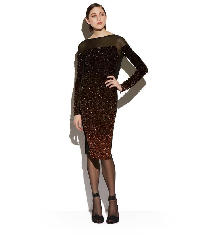 LONG SLEEVE MIXED SEQUIN COCKTAIL DRESS B fullsize