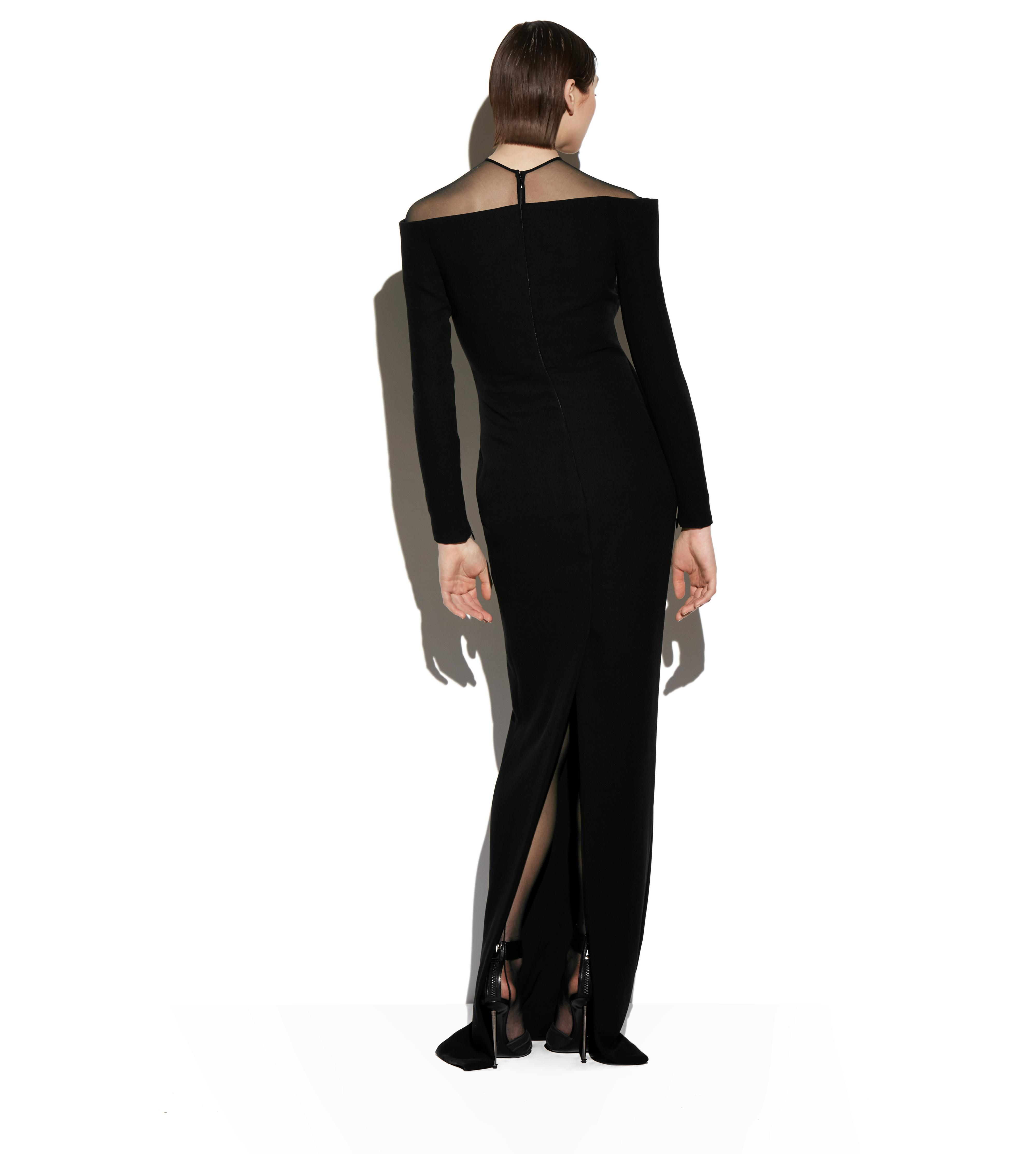OFF-SHOULDER LONG SLEEVE BUSTIER GOWN C thumbnail