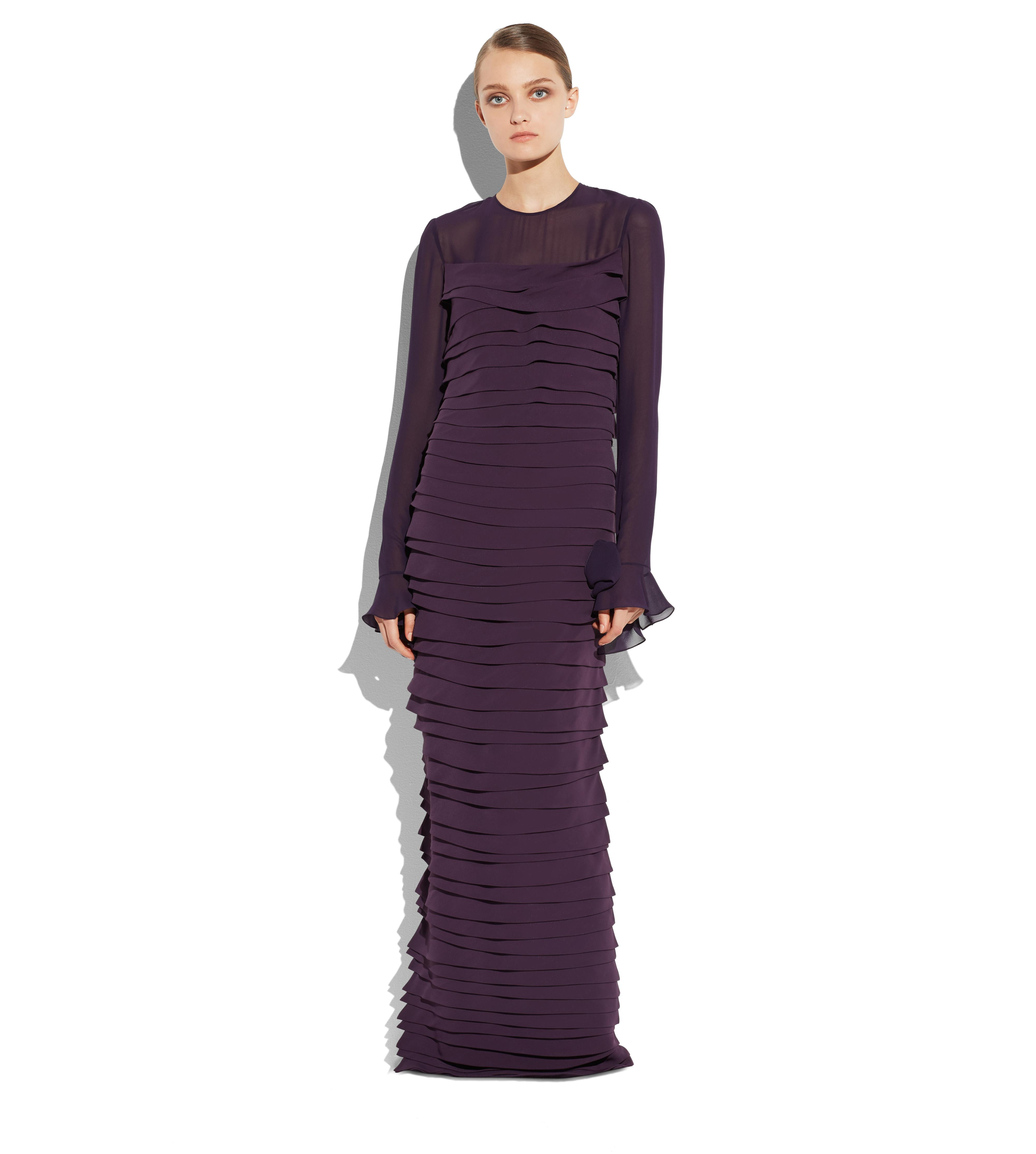 TIERED CADY GOWN WITH PLEATS B thumbnail