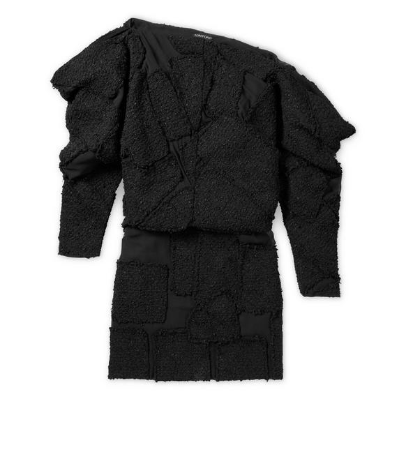TWEED PATCHWORK OFF-SHOULDER DRESS A fullsize