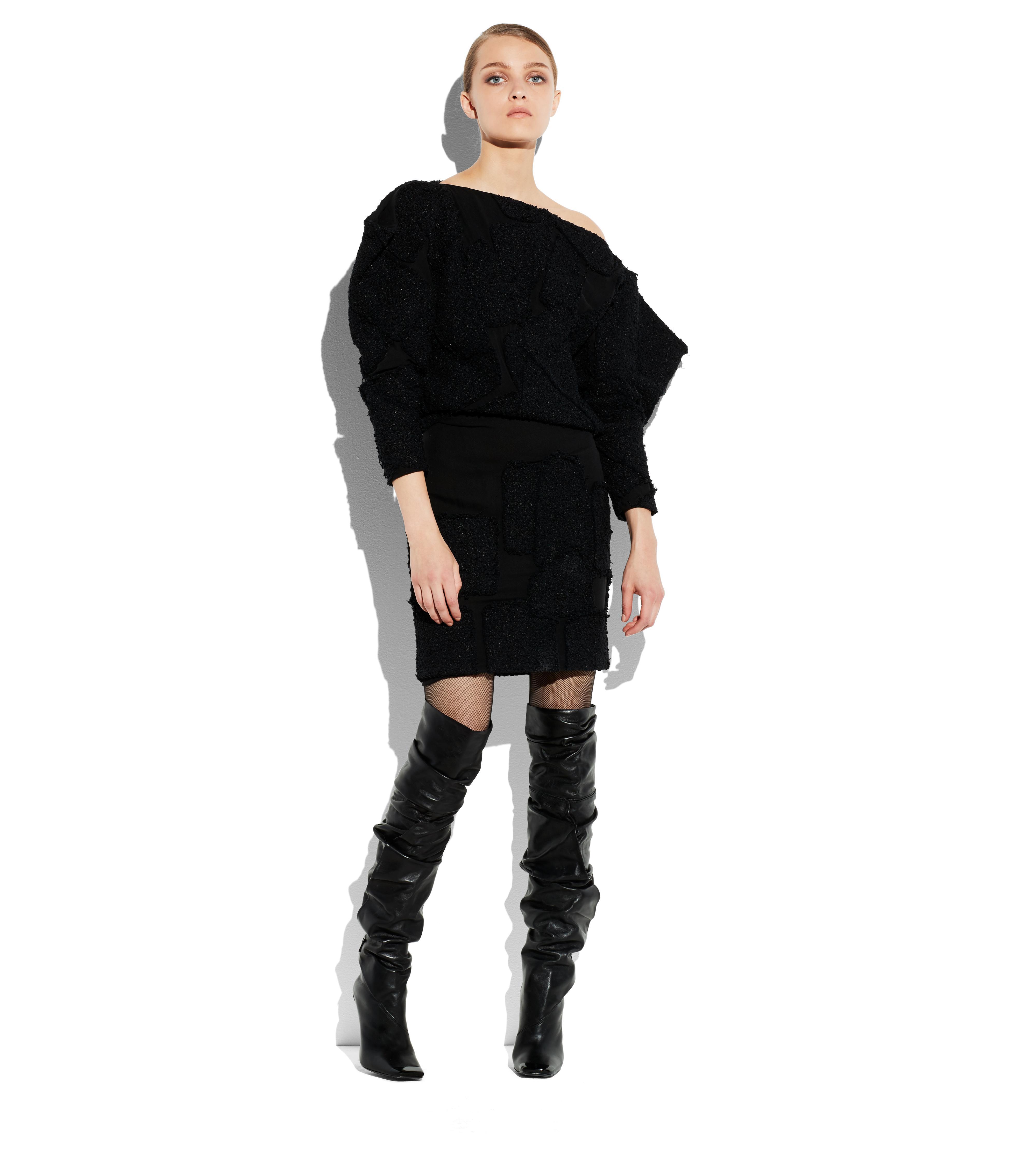 TWEED PATCHWORK OFF-SHOULDER DRESS B thumbnail