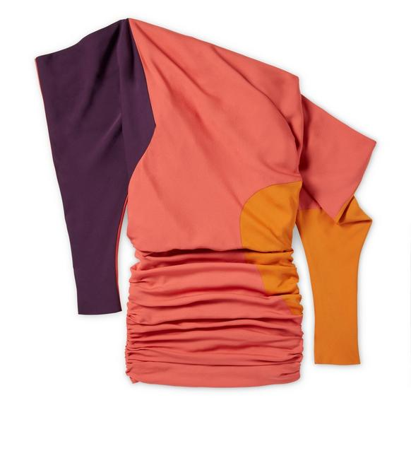 OFF-SHOULDER COLOR BLOCK DOUBLE GEORGETTE DRESS A fullsize
